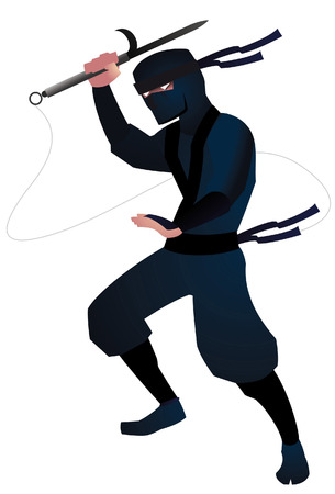 ninja attack illustration Stok Fotoğraf - 34030173