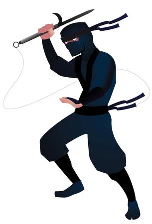 toxic substance: ninja attack illustration Illustration