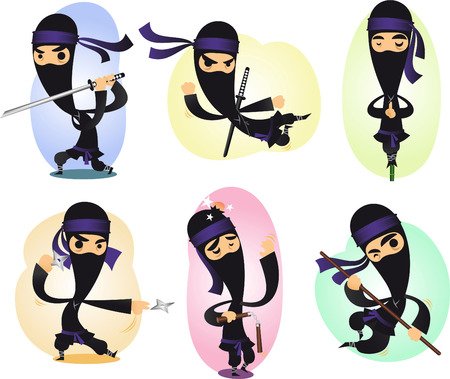Cartoon ninja action illustrations