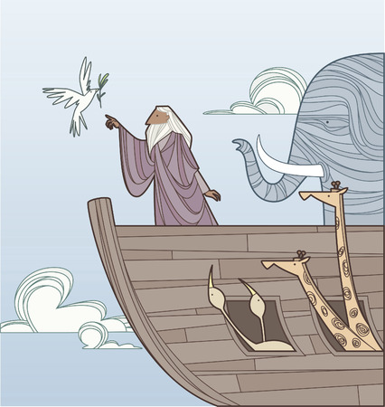 Noah on the arc receiving the dove