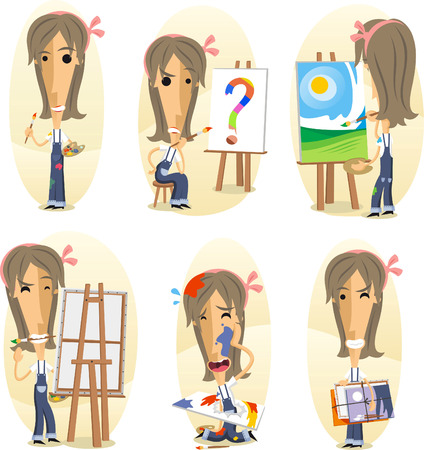 Painter painting on canvas, Cartoon Visual artist action set. Vector illustration cartoon. Illusztráció