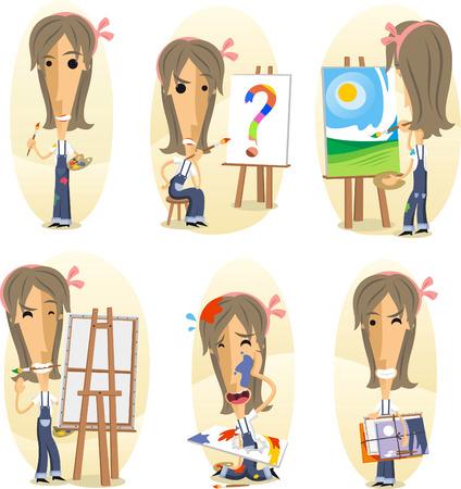 putty knife: Painter painting on canvas, Cartoon Visual artist action set. Vector illustration cartoon. Illustration