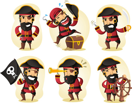 tall ship: pirate cartoon set
