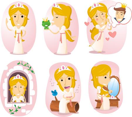 Princess cartoon illustration set 矢量图像