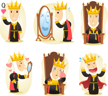 beauty queen: Queen medieval cartoon set