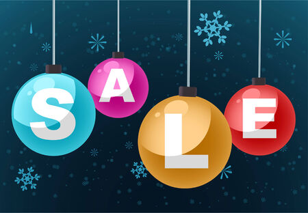 SALE clearance retail deal vector illustration cartoon, with snowflakes background. Vector
