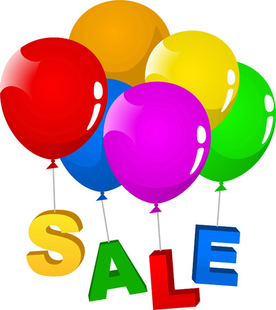 financial figures: SALE clearance retail deal purchase vector illustration cartoon, with balloons holding SALE letters.