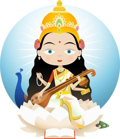 hinduism: Saraswati En el hinduismo es la diosa del conocimiento, la m�sica y las artes. Ella es la consorte de Brahma, Saraswati es considerado como la madre de los Vedas.