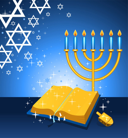 jewish group: Torah and menorah cartoon illustration