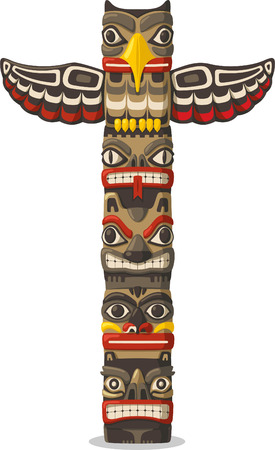 native american art: Totem being object symbol animal plant representation family clan tribe, vector illustration cartoon.