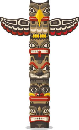 vetical: Totem siendo objeto familiar representaci�n planta animal s�mbolo tribu clan, ilustraci�n vectorial de dibujos animados.