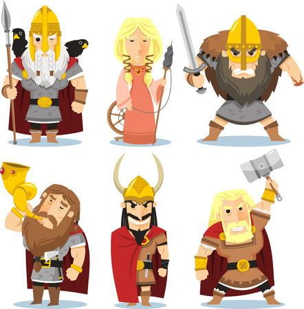 Viking gods cartoon illustrations