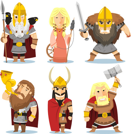 Viking gods cartoon illustrations
