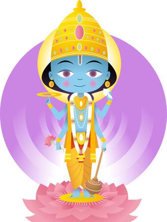 hindu god: Dios hind� Vishnu ilustraci�n de dibujos animados