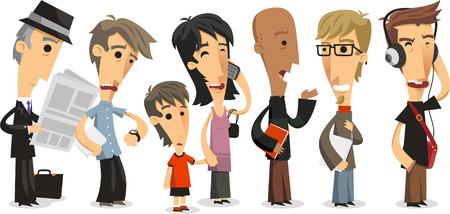 Waiting Line Standing people in a Row, vector illustration cartoon.