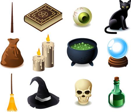 ブラック マジック要素、魔法の杖、魔法の本の呪文、ポーションの本、目、黒い猫、袋、蝋燭、魔法のポーション ポット、魔法の水晶玉、魔法のほ  イラスト・ベクター素材