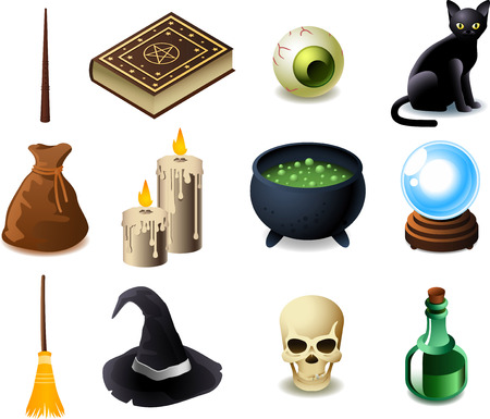 magical equipment: Black magic elements, with magic wand, magic book of spells, potions book, eye, black cat, bag, candle, magic potion pot, magic crystal ball, magic broom, witch hat, skull, potion. Vector illustration cartoons. Illustration