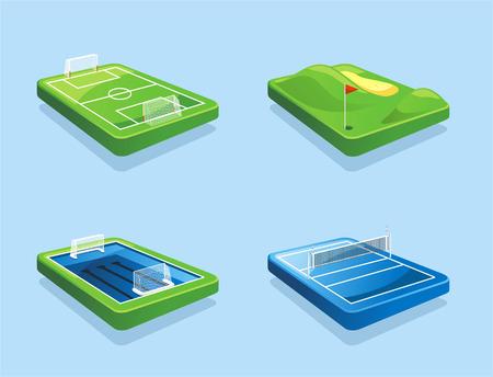 なでる: ゴルフコース サッカー フィールド水球フィールド バレーボール フィールド ベクトル イラスト漫画。
