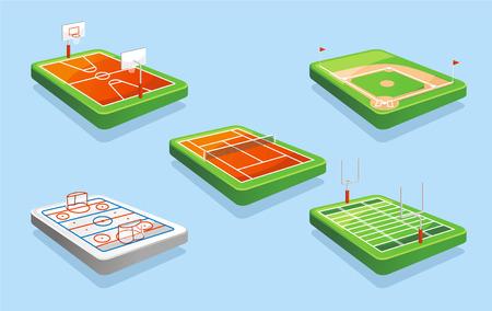 バスケット ボール フィールド ホッケー場、テニス場、野球場、アメリカのサッカーのフィールド ベクトル イラスト。