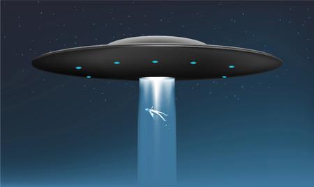 Midnight Alien UFO abduction Ship with Flying human body vector illustration. Illusztráció