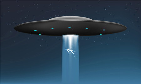 abduction: Midnight Alien UFO abduction Ship with Flying human body vector illustration. Illustration