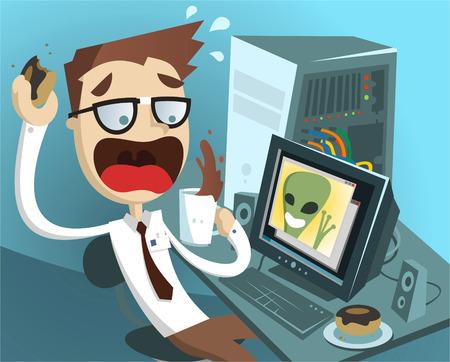 Scientist makes contact with alien civilization cartoon illustration