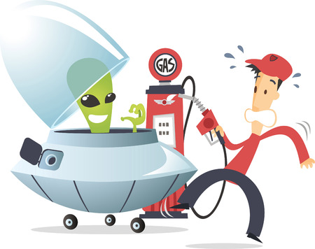 Alien with flying saucer on a gas station