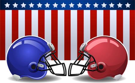 Football helmets with american flag