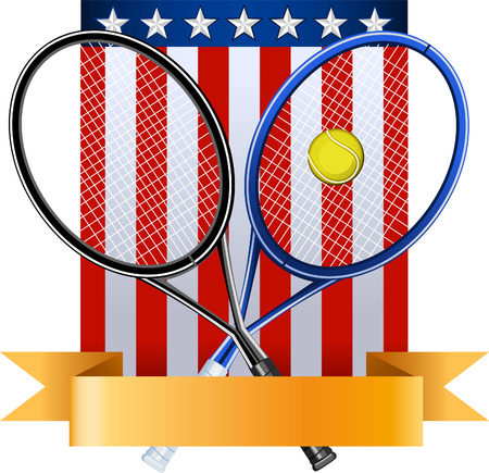 proffesional: American tennis emblem with rackets ball and EEUU flag vector illustration, with seven stars and banner.