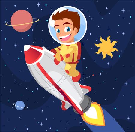 astronaut: Astronaut Boy on Space Rocket Vector Illustration.