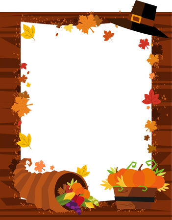 fall images: Autumn Banner, with Hat, Leaf, Pumpkin and Horn of Abundance. Vector Illustration Cartoon. Illustration