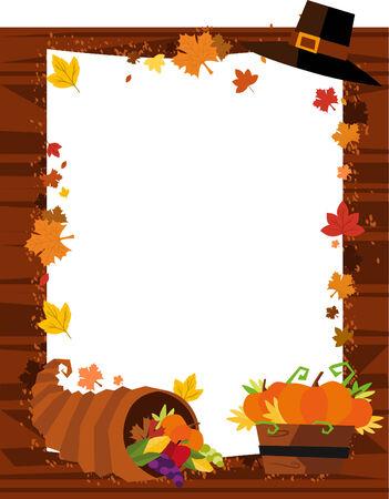 abundance: Autumn Banner, with Hat, Leaf, Pumpkin and Horn of Abundance. Vector Illustration Cartoon. Illustration
