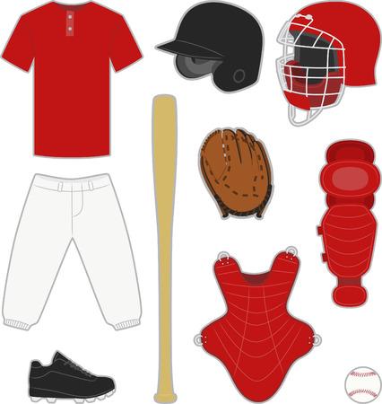 Baseball equipment and uniform illustrations Vector