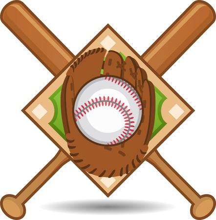 guante de beisbol: Guante de béisbol emblema Vectores