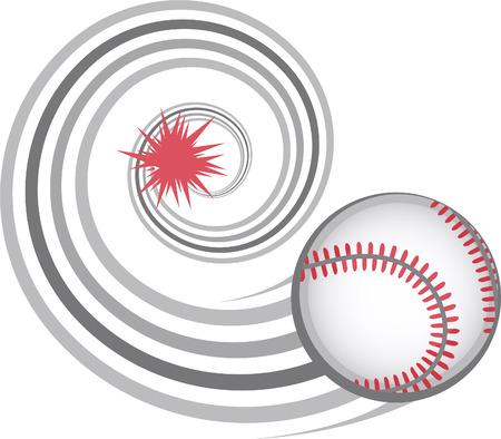 fast pitch: Baseball hit illustration