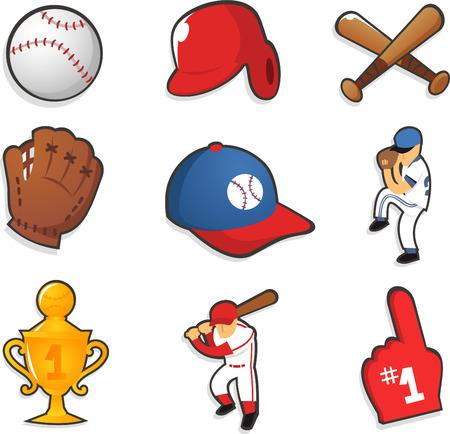 Baseball icons vector illustrations
