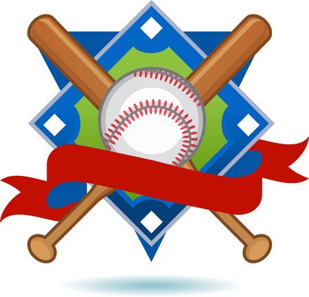 fast pitch: American Baseball Blue Insignia vector illustration