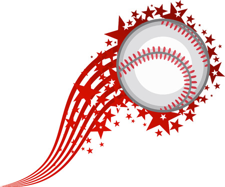 Full Star Flying Baseball Ball vector illustration. Çizim