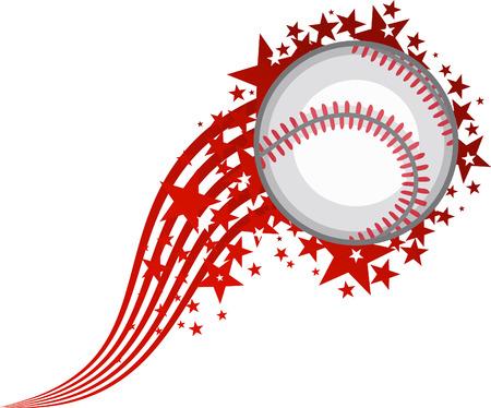 softball: Full Star Flying Baseball Ball vector illustration. Illustration