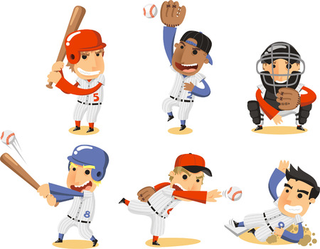 Baseball Player Set, met Catcher, pitcher, derde honk, shortstop, fielding team en beslag vector illustratie cartoon. Stock Illustratie