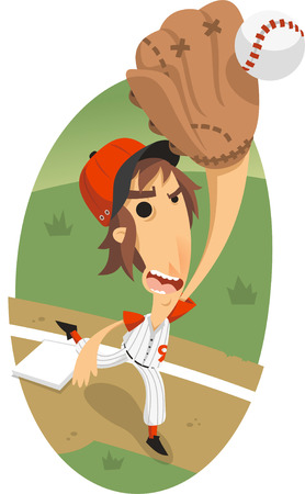 outfielder: Baseball Fly Ball catch vector illustrator