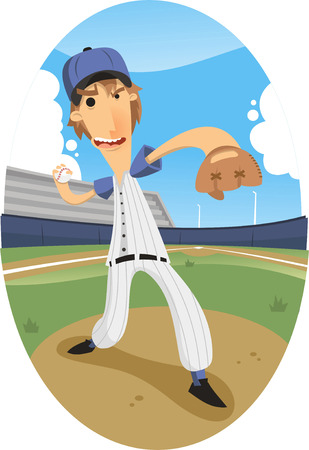 designated: pitcher throwing a fastball at a baseball game at a stadium.