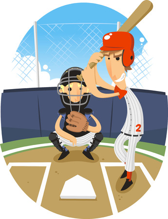 Baseball Batter Batting with Catcher vector illustration. Vector