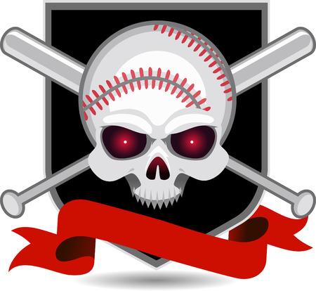 fast pitch: American Baseball Skull Insignia vector illustration.