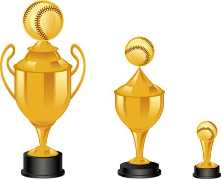 Baseball golden throphies illustrations Illustration