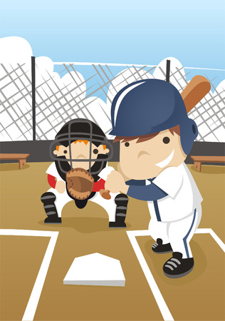baseball diamond: Baseball batter cartoon Illustration