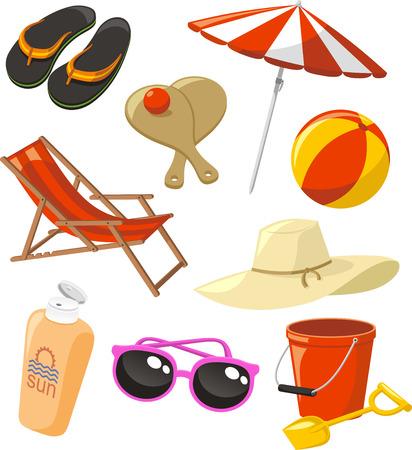 mar: Playa Set iconos, con sandalias flip flop, tenis de playa, pelota de playa, cubo, pala, silla de lona, ??sombrilla, sombrero para el sol, crema solar, protector solar y gafas de sol ilustración vectorial.