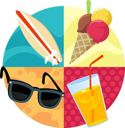 ビーチ夏サーフィン アイスクリーム メガネや飲み物ベクトル イラスト。