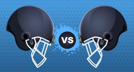 american football helmet: Football helmets vs sign Illustration