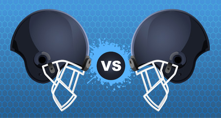 Football helmets vs sign Illustration